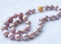 8 9MM Genuine Lavender akoya cultured pearl necklace Magnet Clasp Pearl Jewelry Rope Chain Necklace Pearl Beads Natural Stone