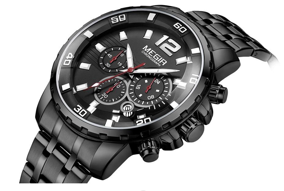 HTB1byDKa4SYBuNjSsphq6zGvVXaP Megir Men's Gold Stainless Steel Quartz Watches Business Chronograph Analgue Wristwatch for Man Waterproof Luminous 2068GGD-2N3