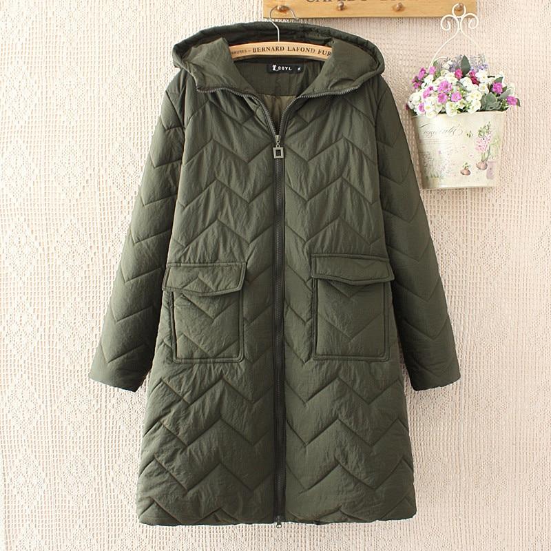 2018 New Autumn Winter Women's Large Size Cotton Clothes Coat Casual Loose Long Section   Parkas   Jackets Outerwear X263