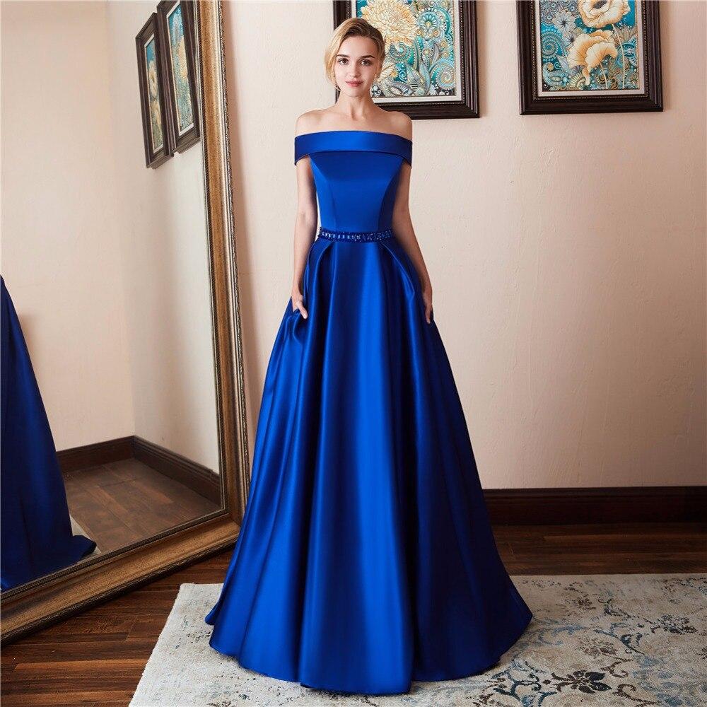 Синие Атласные Платья В Пол