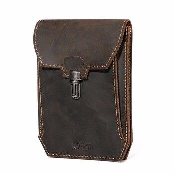 Men Genuine Leather Waist Bag Vintage Fanny Pack Double Waist Packs Belt Bag for Men Crossbody Bag Chest Bag for Male