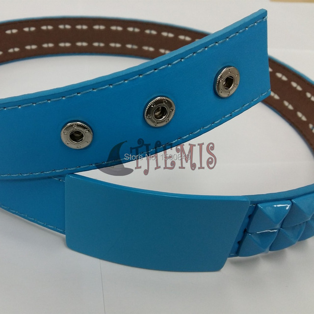Athemis correa azul del color del mismo como Dramatical Murder Seragaki Aoba cosplay cinturón y artesanal joyería hecha a mano