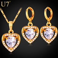 U7 Cubic Zirconia Jewelry Set Love Heart Fashion Necklace Earrings Sets Women Gold Plated Jewelry Sets S724