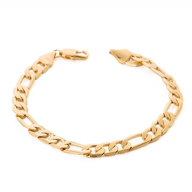 Wholesale Fashion Accessories 7mm Gold Color Jewelry Cool Men Male Bangle Bracelet