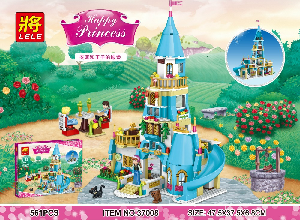 ФОТО 2017 New 37008 561Pcs Anna and the Prince Castle Model Building Kits minis Blocks Bricks Girl Compatible With Legoe brinquedos