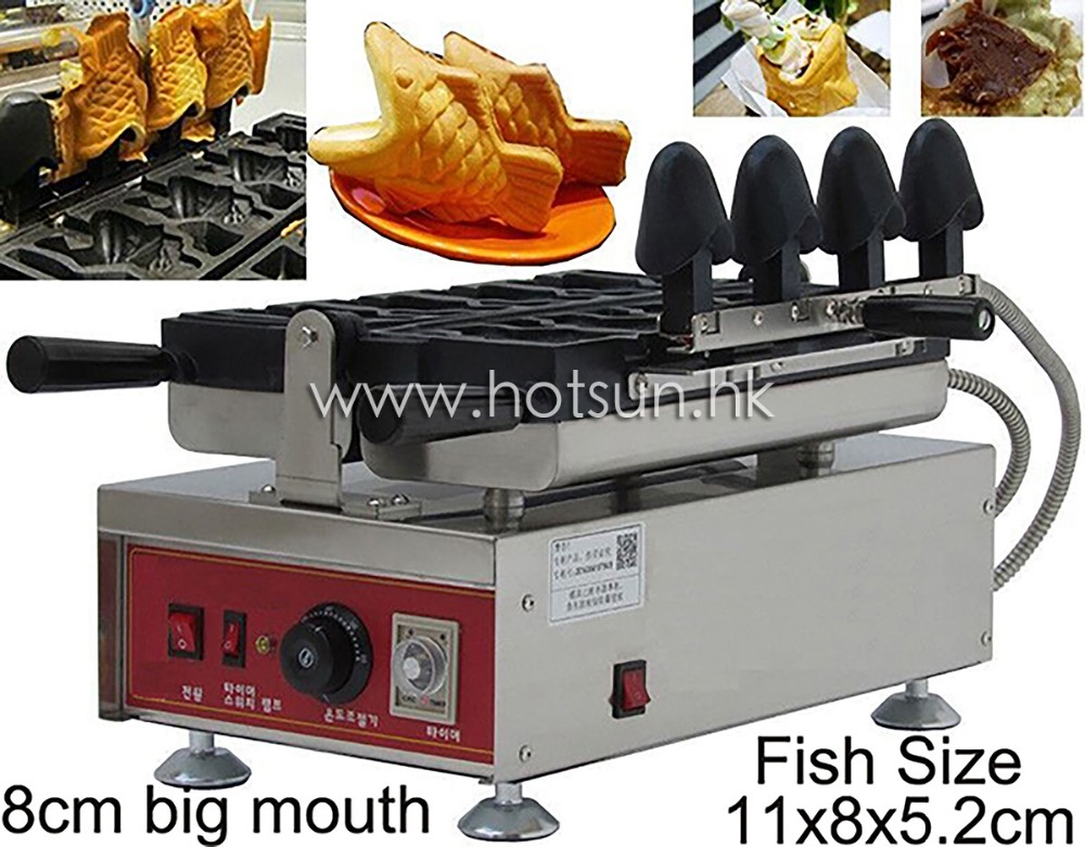 4pcs Commercial Use Non-stick 110v 220v Electric Ice Cream Fish Taiyaki Maker Machine Baker Iron edtid new high quality small commercial ice machine household ice machine tea milk shop