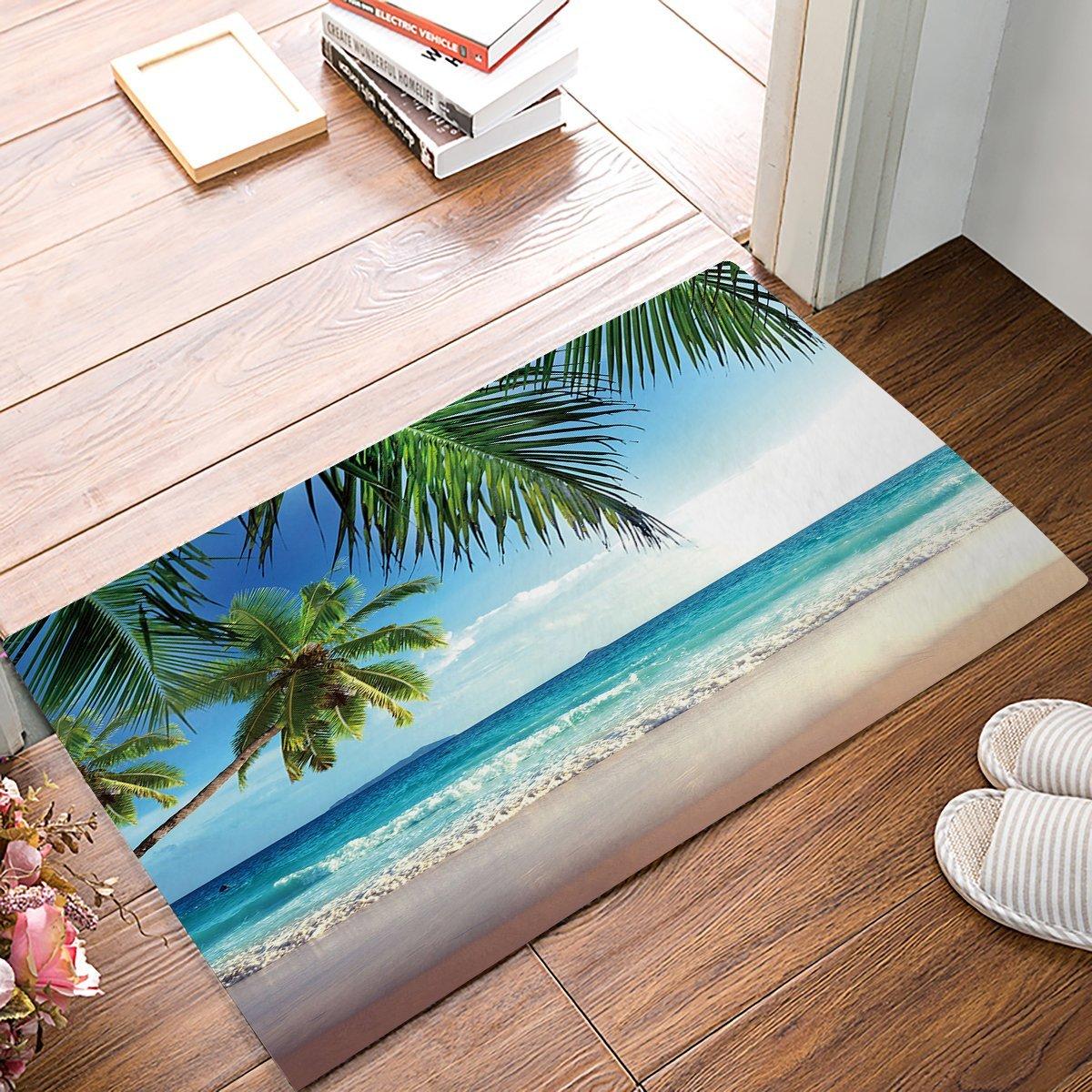 Ocean Door Mats Rug Summer Beach Blue