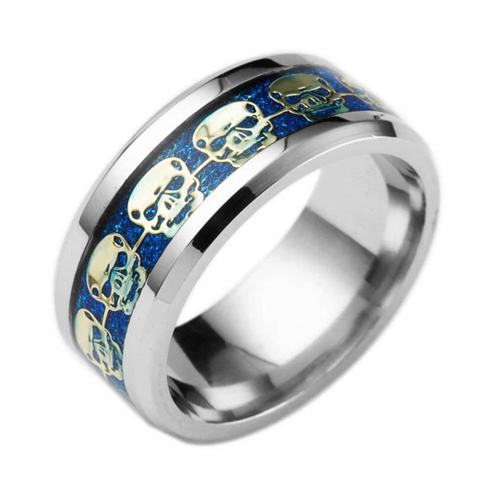 Berdering Cincin Fashion untuk Pria Hadiah Perhiasan Pria Tidak Pernah Pudar Stainless Steel Cincin Tengkorak Emas Biru Hitam Kerangka Pola Pria biker