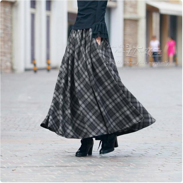 e2e0514ab New Spring Autumn Plaid Maxi Skirt Women's 2016 Plus Size High Waist  Pleated Ankle-Length School Skirt Warm Wool Long Skirts