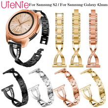 Stainless Steel Strap for Samsung Galaxy Watch 42mm Band With Bling Rhinestones Metal