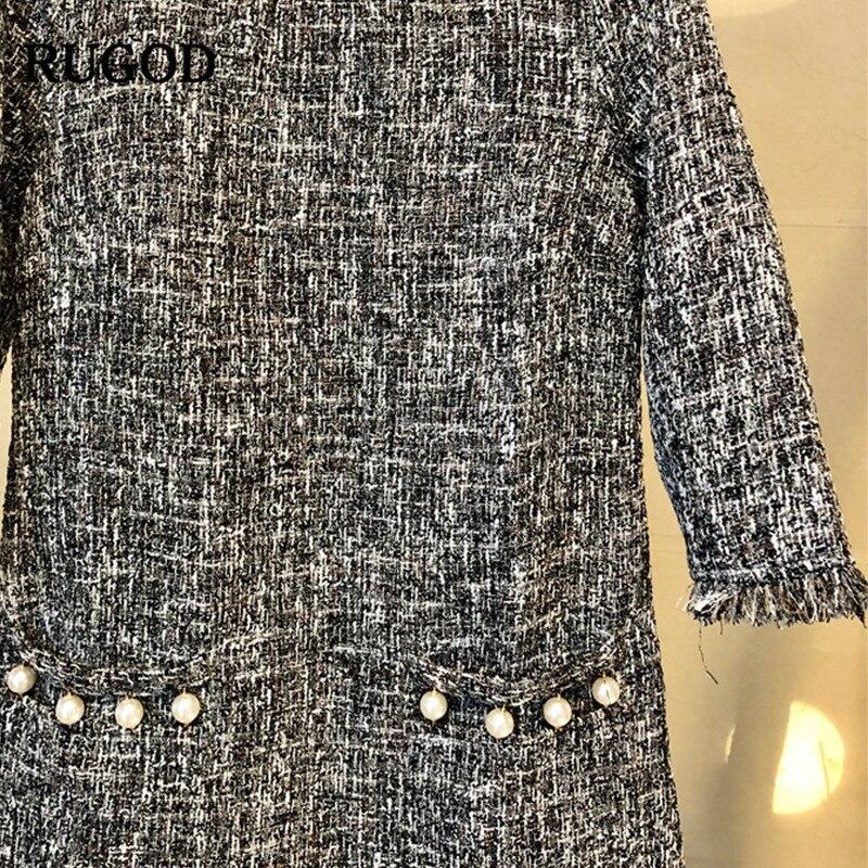 Genou Avec Au Du O Femelle Droit Les Dame Mini Femmes Gray Verano Bureau Rugod cou dessus 2018 Pour Robes Robe Perles Solide NnPwvmOy80