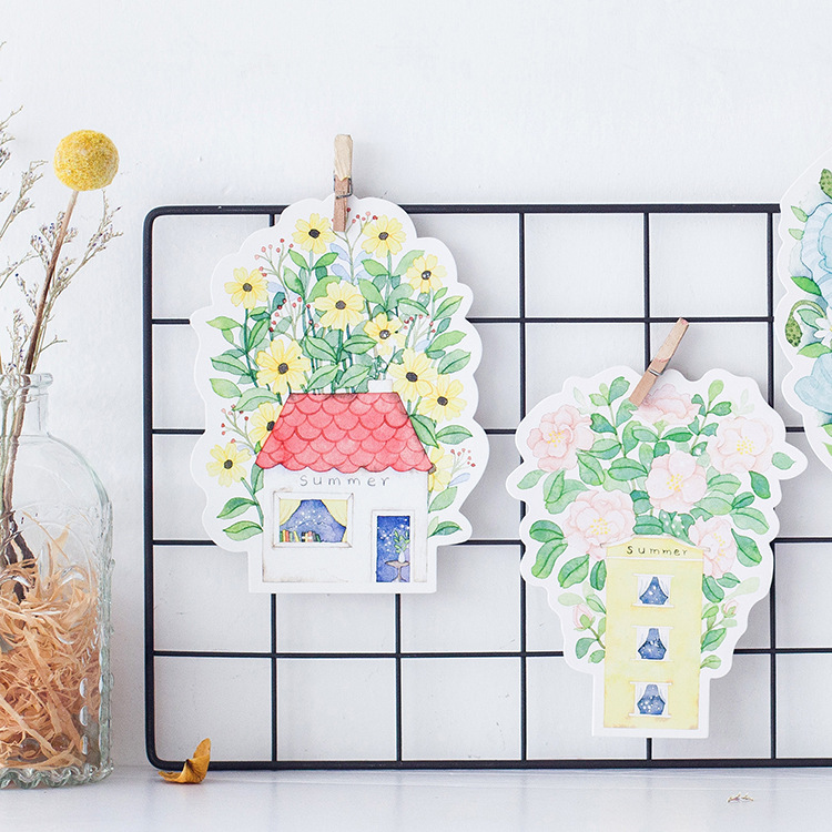 30pcs house build with flower style card multi-use as Scrapbooking party invitation DIY gift card message card postcard
