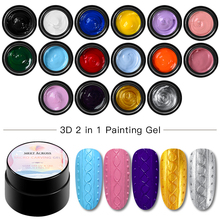 MEET ACROSS 3D Painting Nail Gel 5ml Micro-carving 2 In 1 Glitter UV Lacquer Soak Off LED Varnish