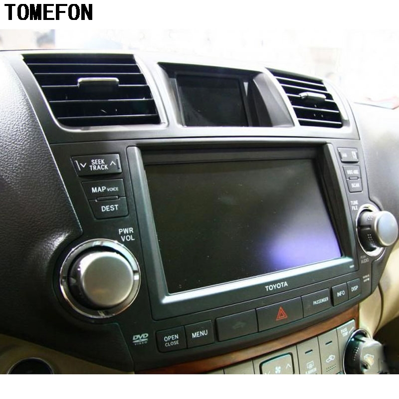 TOMEFON For Toyota Highlander 2009 To 2013 Carbon Fiber Special Paint Inner Dashboard Middle Air Vent Cover Interior Styling