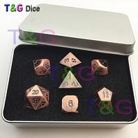 2015 NEW Top Quality Bronze Roe Gold Metal 7 Dice Set D4 D6 D8 D10 D