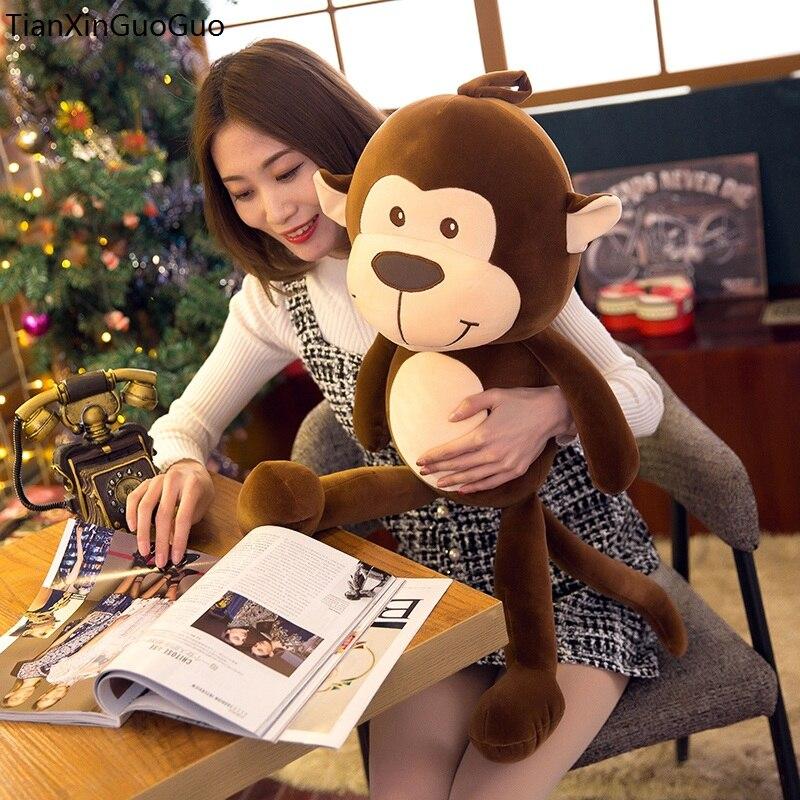 Grand 65 cm belle brun singe en peluche jouet vers le bas coton très doux poupée coussin cadeau De Noël s2228
