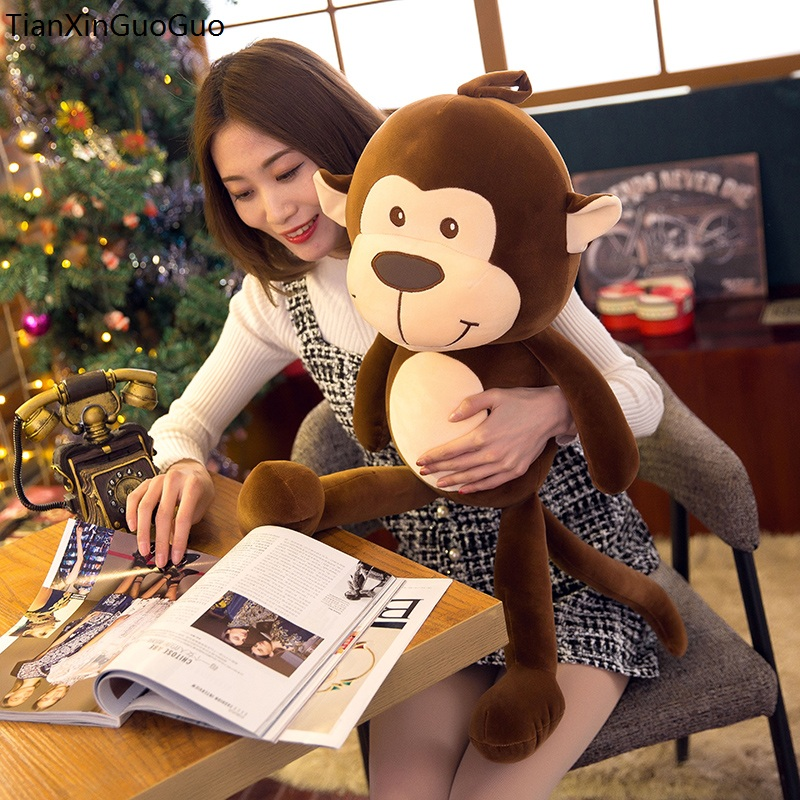 large 65cm lovely brown monkey plush toy down cotton very soft doll throw pillow Christmas gift s2228 huge 120cm lovely gaint panda plush toy soft doll throw pillow christmas gift b1475
