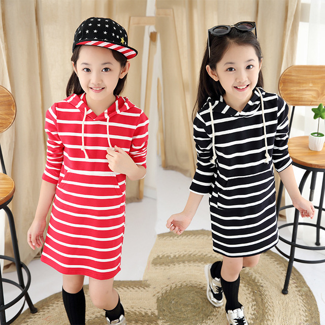 New fashion style stripped pattern children's girls straight skirt clothes shirt long sleeve kids clothing for baby girls