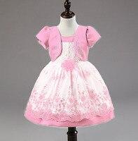 Mode nep twee stukken jas applique bloem jurk outfit voor infant meisjes shot mouwen baby meisje pasen jurken