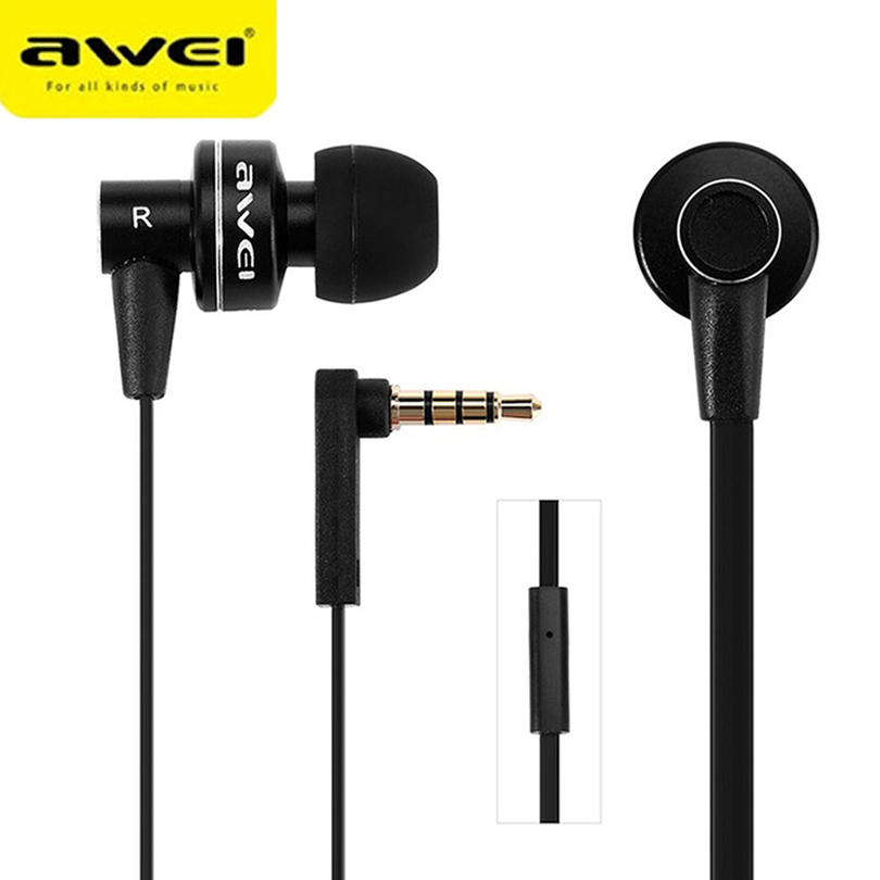 Awei Wired Stereo Headphone With Mic Microphone In-ear Earphone For Your In Ear Phone Buds iPhone Samsung Player Headset Earbuds misr t3 wired earphone metal in ear headset magnet for phone with mic microphone stereo bass earbuds