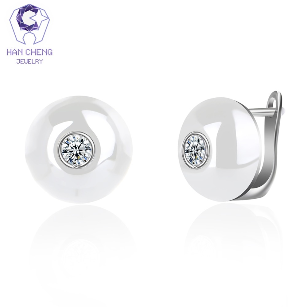 HanCheng New Fashion Luxury Golden Silver Plated Zircon Gem Stone Ceramic Round Stud Earrings For Women Jewelry brincos bijoux rigant gold plated zinc alloy rhinestones stud earrings for women golden pair