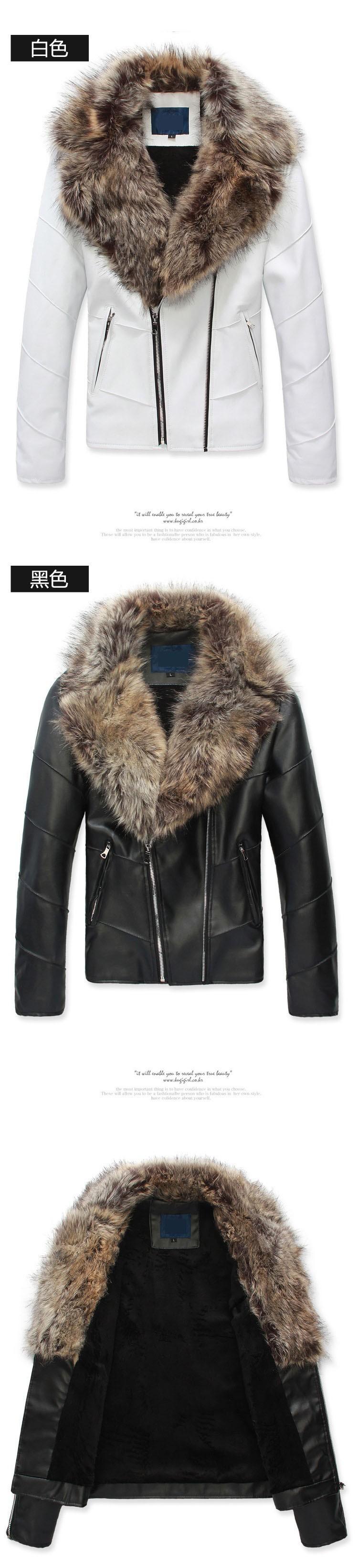 Leather jacket men fur coat biker jacket motorcycle 2015 fashion famous brand slim men leather jacket with fur collar2
