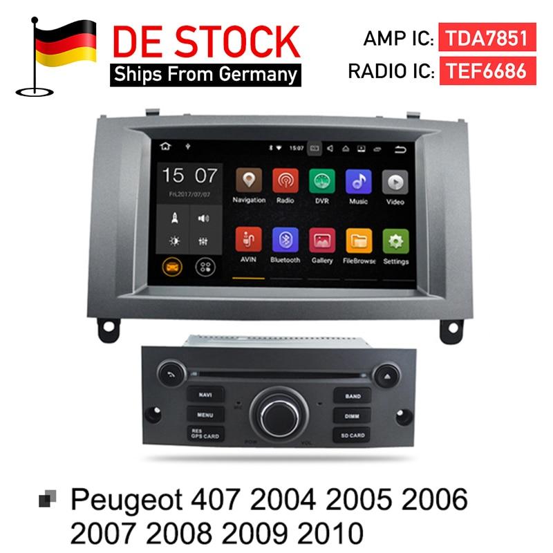 Android 7.1 2G RAM Auto Glonass GPS Navigation DVD de Voiture Stéréo Headunit pour Peugeot 407 2004-2010 auto radio RDS Multimédia
