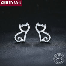 ZHOUYANG S925 Stud Earrings for Women Sweet Style Hollow Cat 925 Sterling Silver Pure Color Fashion Jewelry Birthday Gift EY230(China)