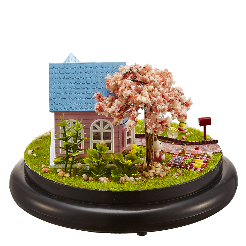 Delicate Cartoon Castle DIY Music box With Glass Cover Assembled Puzzle Toy Birthday Gift Beautiful Garden Figurines Artware