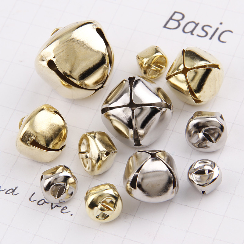 12/13/15/20/25/30mm Gold/White K Iron Water Plated Christmas Cross Bells Pendant Handmade Party DIY Crafts Accessories