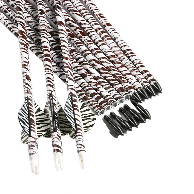 <font><b>6</b></font>/12PCS Linkboy Archery Spine <font><b>400</b></font> Zebra Pattern Carbon Arrow Shaft 32'' ID6.2mm Compound Traditional Bow Hunting Shooting image