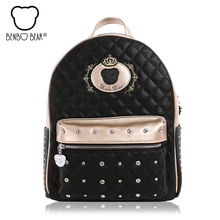 2017 бенбо медведь изысканный женский рюкзак модная школьная сумка для девочек-подростков дорожные сумки для женщин