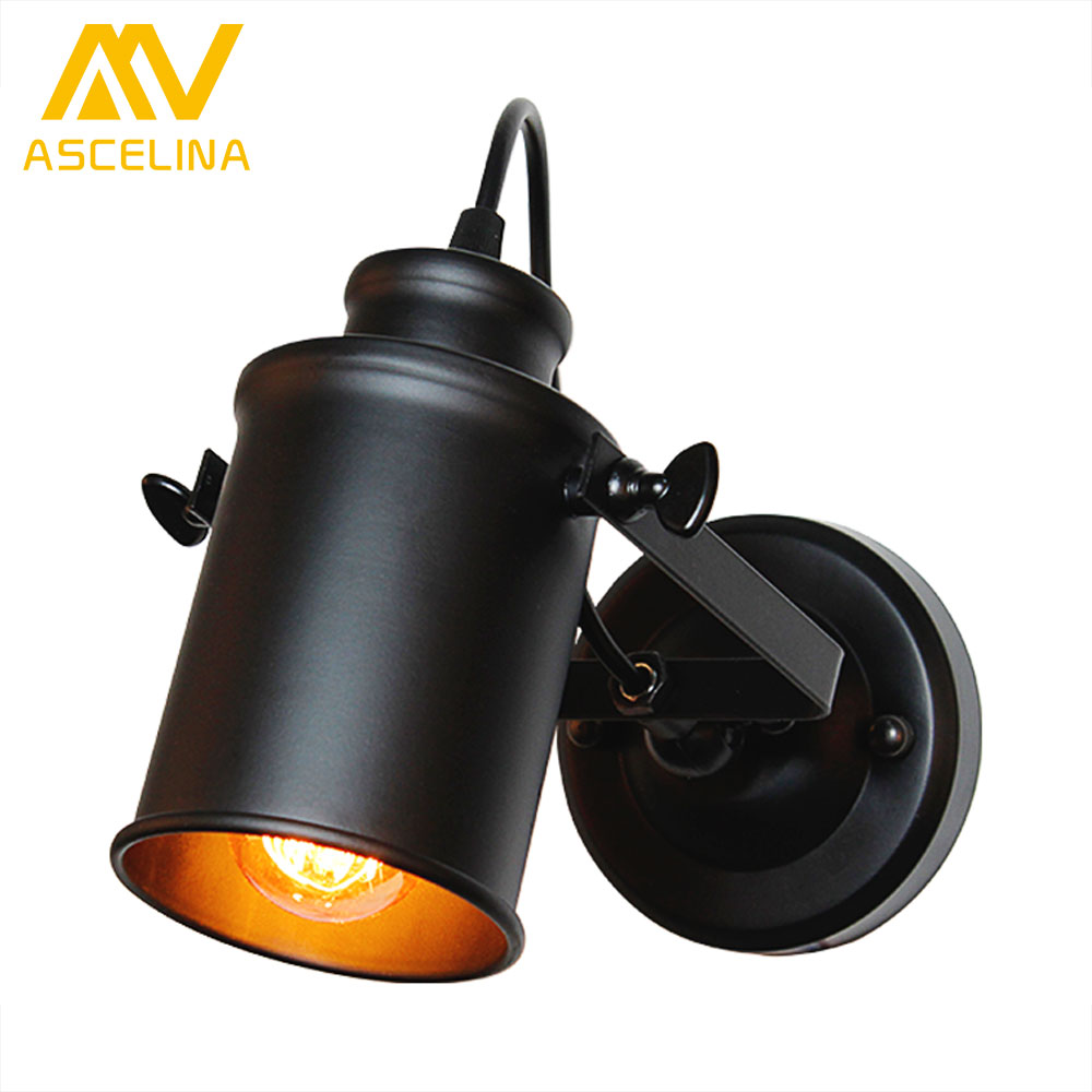 ASCELINA Wall Lamp American Retro Country Loft Style LED lamps Industrial Vintage Iron wall light for Bar Cafe Home Lighting american country style industrial wall lamp retro bar bedroom pulley light fixtures stairs wall lamp