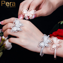 Pera Trendy Micro Pave Cubic Zirconia Big Betterfly Shape Bangle And Ring Sets For Bridal Wedding Party Jewelry Accessories Z005