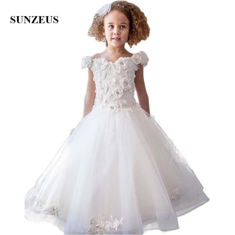 Boat Neck A-Line   Flower     Girls     Dresses   with Handmade   Flower   Off the Shoulder First Communion Party   Dresses   Appliques SF21