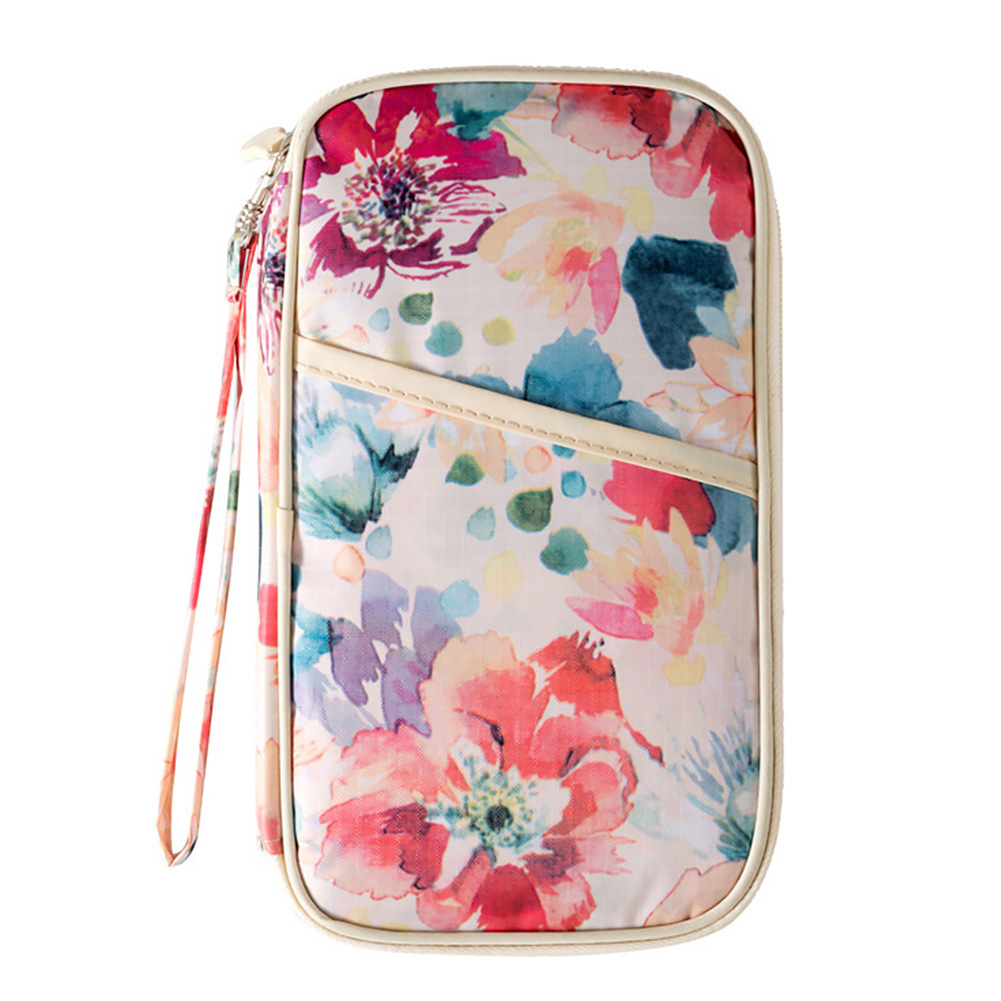 Accessories Floral Print Wallet Travel Card Holder Mini Organizer Convenient Portable Strap Casual Multifunction Durable