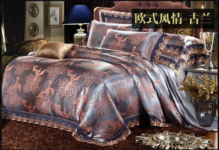 luxury vintage lace satin jacquard bedding sets king queen size quilt duvet cover bed in a