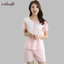 Summer Pyjama Short Pajamas Women Cotton Two Piece Set Short Sleeve Pajama Pijama Women Nightwear Sleepwear For Girl M-XL E1216
