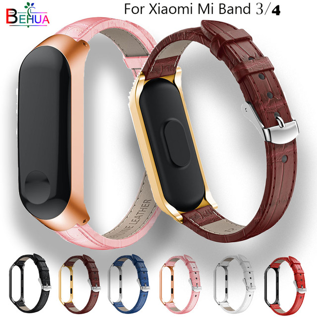 luxury leather quality watch band strap For Xiaomi band 3 Replacement wristband For MIband 4 smart watchbands +Metal Case new