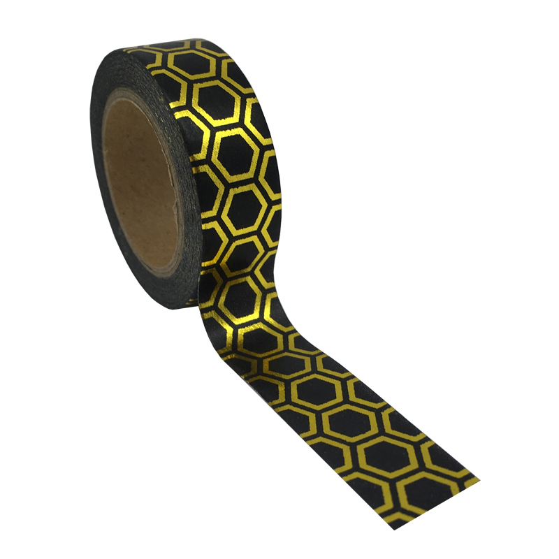 Black With Gold Honeycomb Printed Adhesive Tape Hexagon Football Hot Stamping Washi Decor Tape Japanese Foil Color DIY Craft