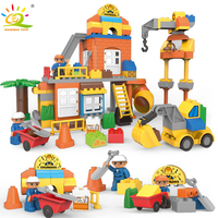 HUIQIBAO TOYS 128pcs Construction site Big Building Blocks Kit For Children Legoingly Duploed Engineering figures Truck Bricks
