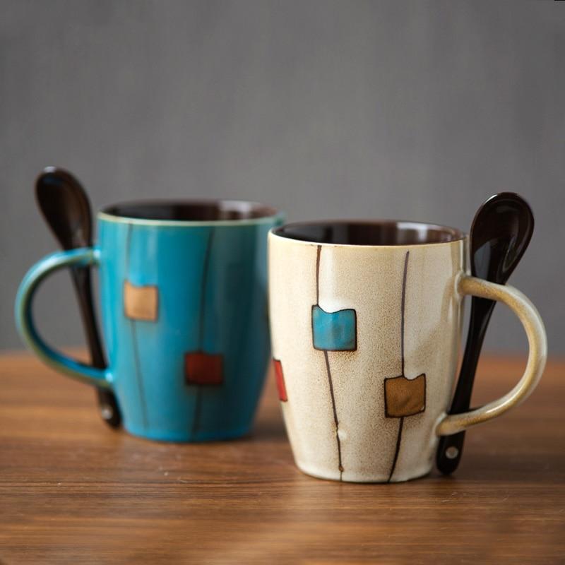 Creative drum ceramic cup with lid spoon Milk coffee mug home Drinkware Ceramic Coffee Mug Cups Office tea