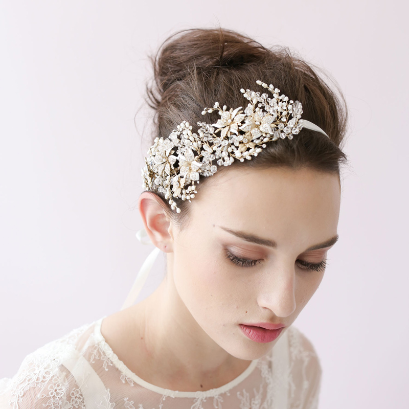 Wedding Dress Bridal Crystal Headband Ladies Hand-woven Leaves Head Wear High-end Plant Hairband Accessories O026