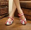 2017 Женщин Способа Плоские Туфли Острым Носом Мэри Джейн Квартиры С Дамы Повседневная Обувь Вышитые Цветок Ткань Обувь женщина