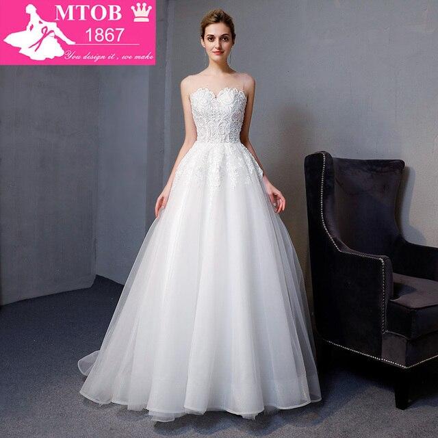 Yeni Varış A line Lüks Vintage düğün elbisesi Romantik Robe De Mariage Vestido De Noiva Sheer Backless gelinlik MTOB1801