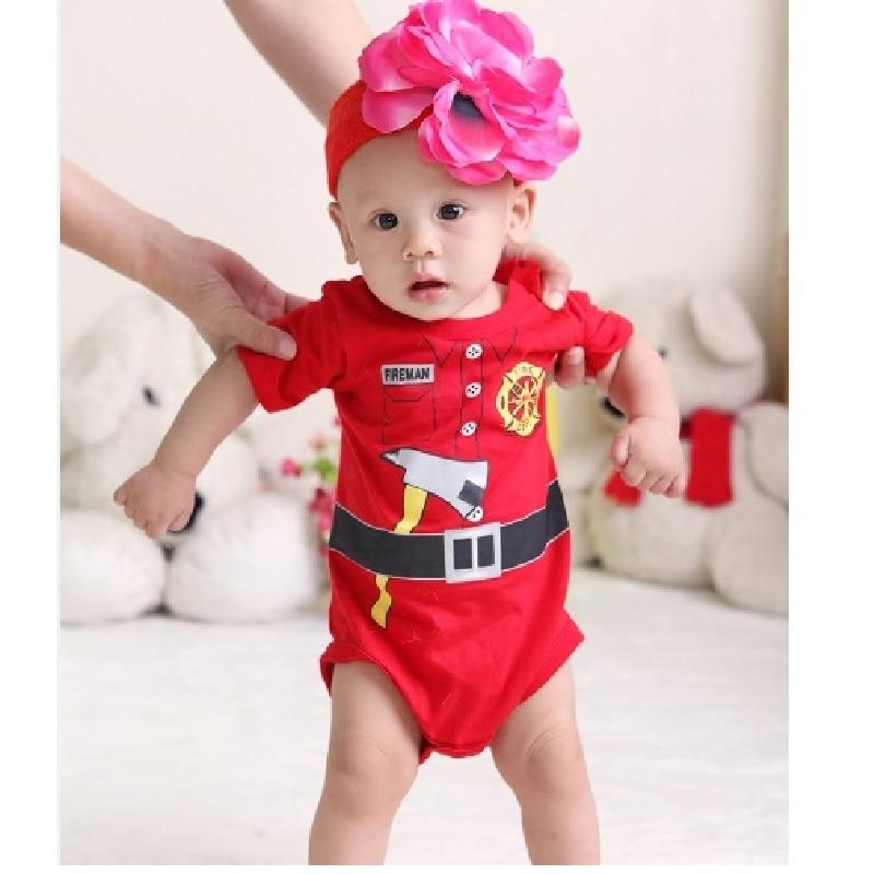 Bombero bebé niño mono de manga corta de verano monos cuerpo menino bebé niño ropa meses mono cuerpo bebe menina