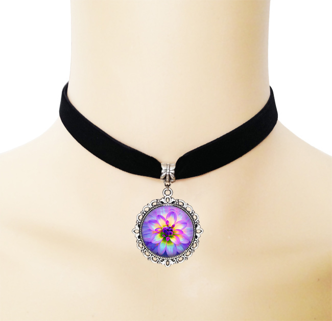 Buy Purple lotus necklace glass dome Dainty flower pendant necklace ribbon collar choker statement necklace Zen Buddhism jewelry for $2.54 in AliExpress store