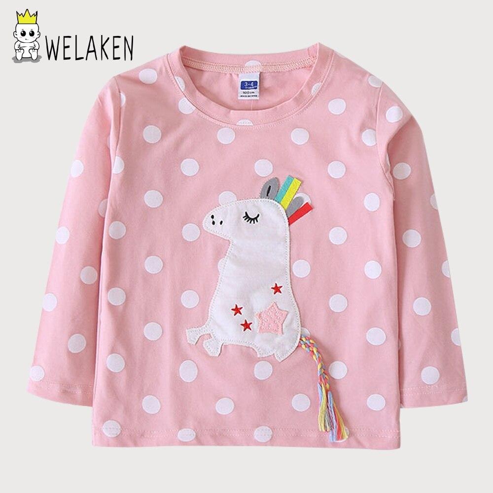 WeLaken Filles T-shirt O-cou Cottonchildren Vêtements De Mode Polka Dot de Bande Dessinée Mignon Licorne Motif Fille À Manches Longues T-shirt
