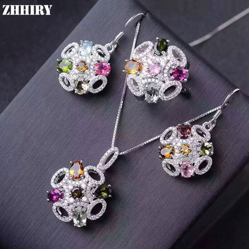 ZHHIRY Natural Tourmaline Gems Jewelry Sets Genuine 925 Solid Sterling Silver For Women Ring Earrings Necklace Pendant setZHHIRY Natural Tourmaline Gems Jewelry Sets Genuine 925 Solid Sterling Silver For Women Ring Earrings Necklace Pendant set