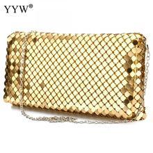 Shoulder Handbag Clutch-Bags Party Purse Evening-Bags Sequin Wedding Gold Long-Chain